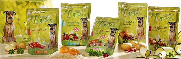 alsa natural Love - Nassfutter für Hunde im Frischebeutel.