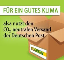 alsa nutzt den CO2-neutralen Versand der Deutschen Post.