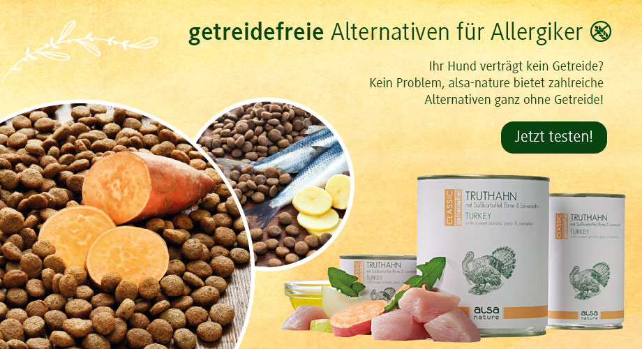 Naturgesundes Trockenfutter und Nassfutter ohne Getreide im alsa Onlineshop bestellen.