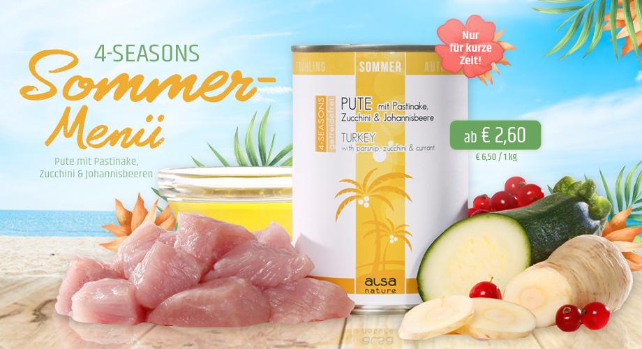 alsa-nature 4-SEASONS Sommer-Menü Pute mit gesunder Pastinake, Zucchini und Johannisbeere