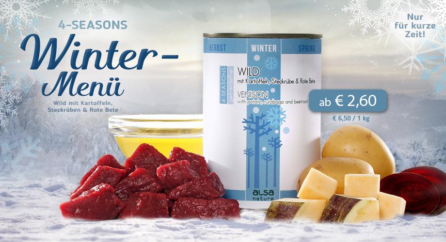 alsa-nature 4-SEASONS Winter-Menü Wild mit Kartoffel, Steckrübe, gesunder Rote Bete