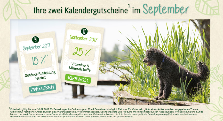 Gutscheinkalender September 2017