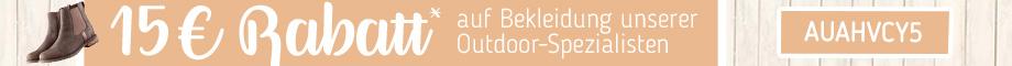 15,- € Rabatt auf Bekleidung unserer Outdoor-Spezialisten