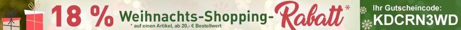 18 % Weihnachts-Shopping-Rabatt auf einen Artikel* #KDCRN3WD