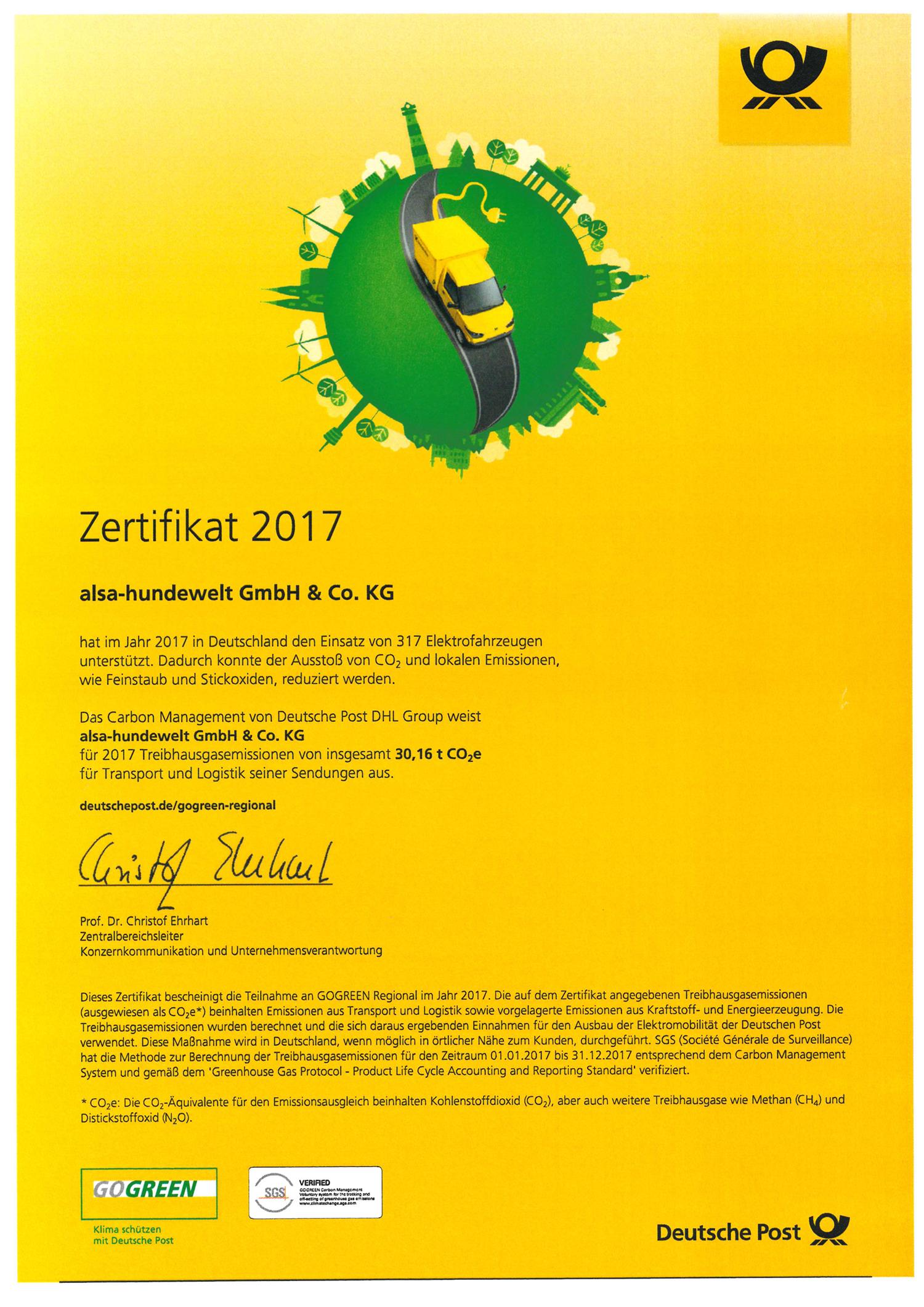 GOGREEN Zertifikat 2017