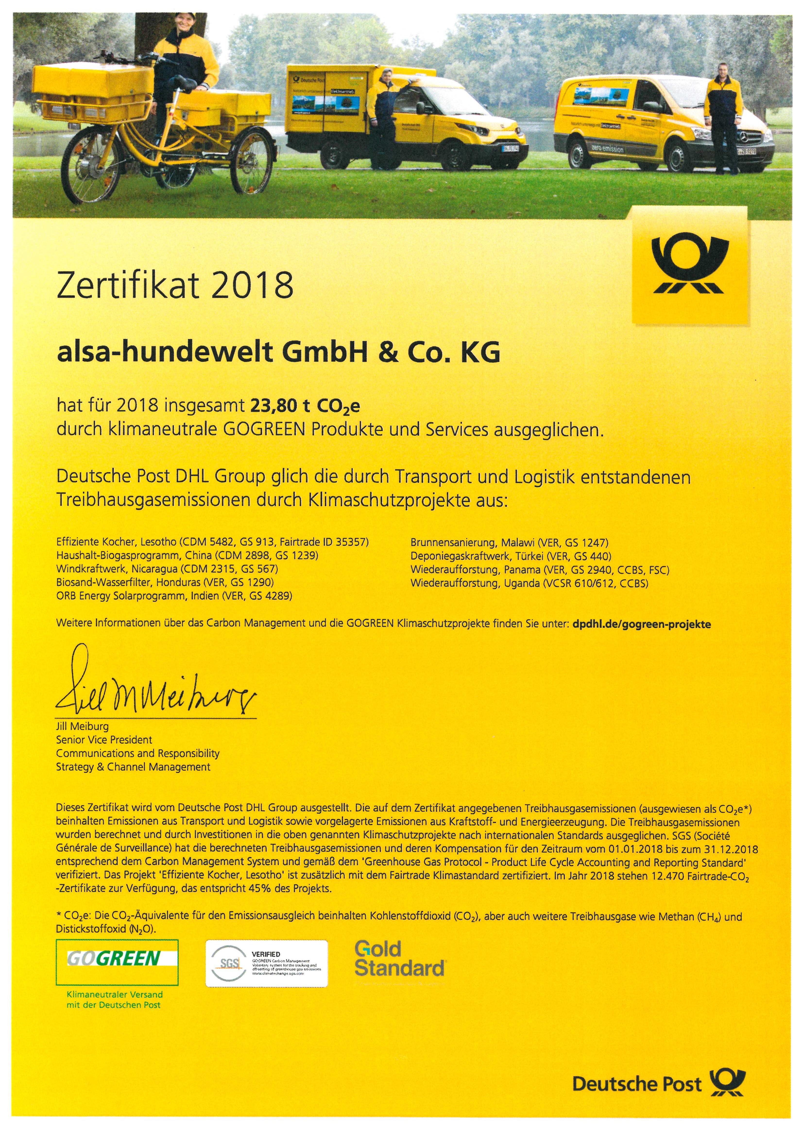 GOGREEN Zertifikat 2018