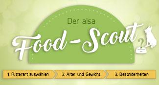 Der alsa Food-Scout - in nur drei Schritten zum individuellen Hundefutter.