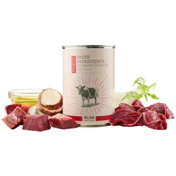 alsa-nature FINEST Rinder-Muskelfleisch mit Topinambur, Fenchel & Leinöl