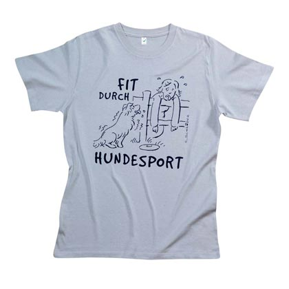 "Cartoon-T-Shirt ""Fit durch Hundesport"""