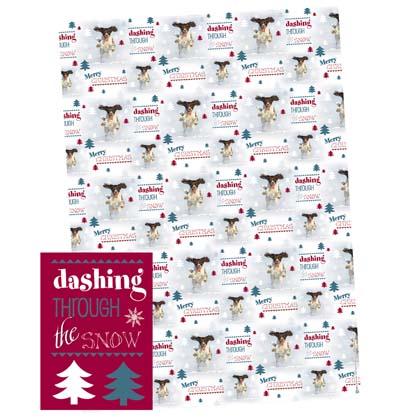 """Geschenkpapier met kadolabels """"Dashing Through The Snow"""""""