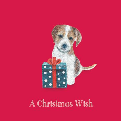 """Weihnachtskarte """"Puppy and Present"""""""