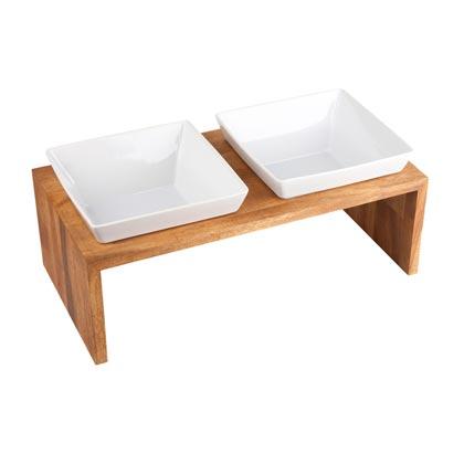 """Premium-Doppelnapf """"Meshidai True Wood"""""""