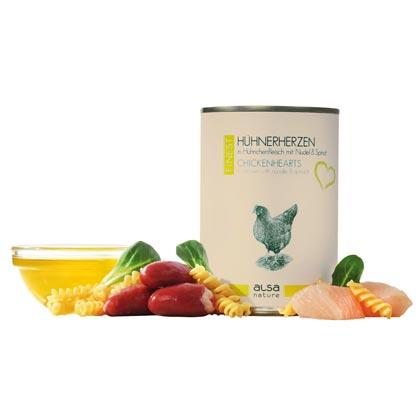 alsa-nature Finest Hühnerherzen in Hühnchenfleisch mit Nudel & Spinat
