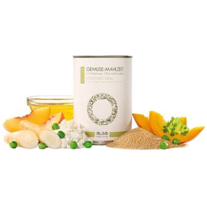 alsa-nature VEGGIE Gemüse-Mahlzeit mit Hüttenkäse, Obst und Kräutern