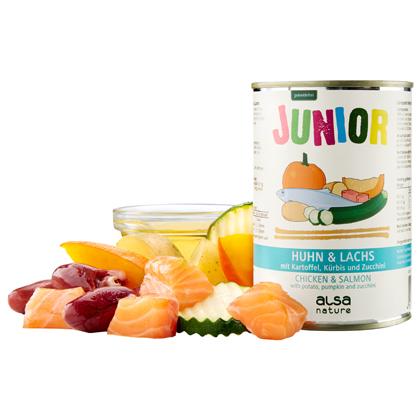 alsa-nature Junior Kip & zalm met aardappel, pompoen & courgette