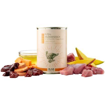 alsa-nature FINEST Puten-Muskelfleisch mit Süßkartoffel, Mango & Leinöl