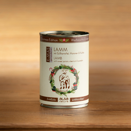 """alsa-nature Dosen-Menüs """"Weihnachts-Edition"""" Lamm mit Süßkartoffel, Maronen & Kürbis"""