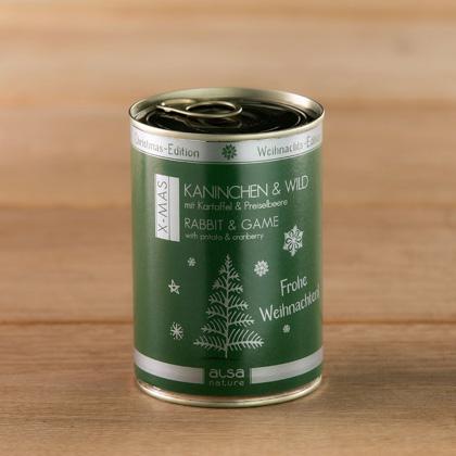 """alsa-nature Dosen-Menüs """"Weihnachts-Edition"""" Kaninchen & Wild mit Kartoffel & Preiselbeere"""