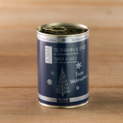 """alsa-nature Dosen-Menüs """"Weihnachts-Edition"""" Truthahn & Ente mit Süßkartoffel & Apfel"""
