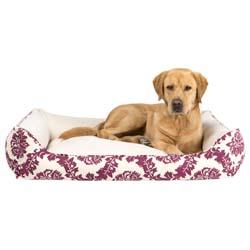 alsa-brand Hundebett Barock weinrot-beige, Außenmaße: ca. 70 x 60 x 22 cm - alsa-hundewelt