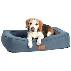 alsa-brand Hundebett Ortho Lounge grau-blau, Außenmaße: ca. 80 x 60 cm - alsa-hundewelt
