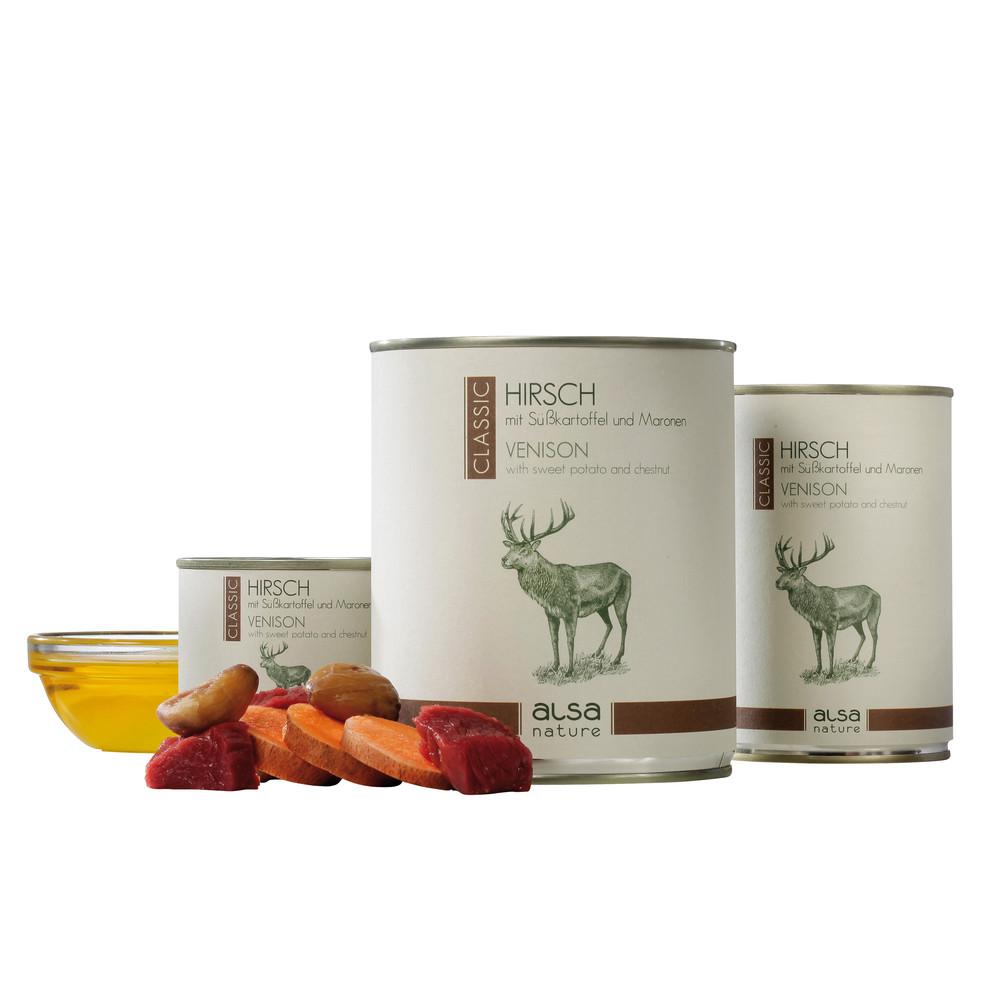 alsa-nature Hirsch mit Süßkartoffel und Maronen Nassfutter, 200 g