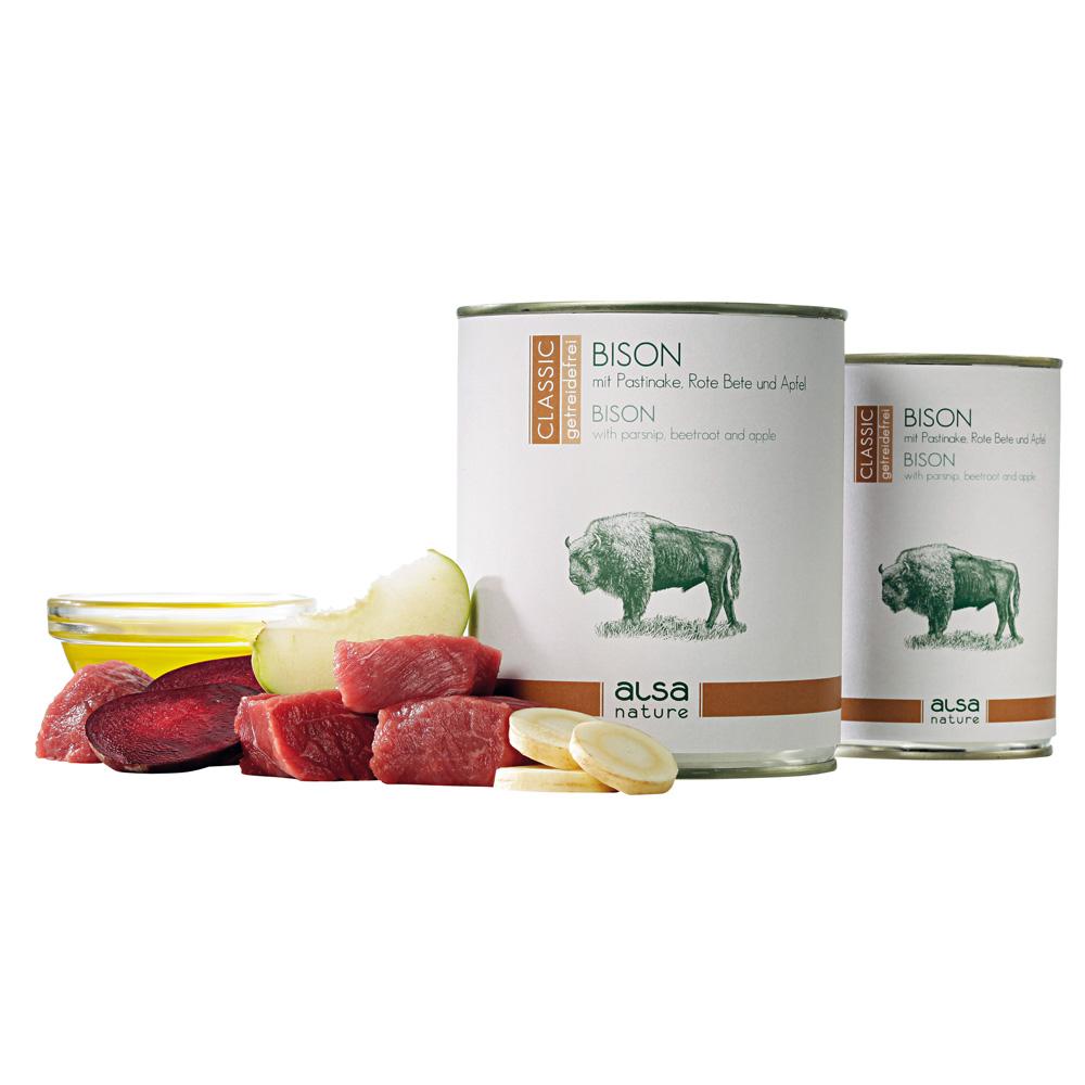 alsa-nature Bison mit Pastinake, Rote Bete & Apfel Nassfutter, 400 g
