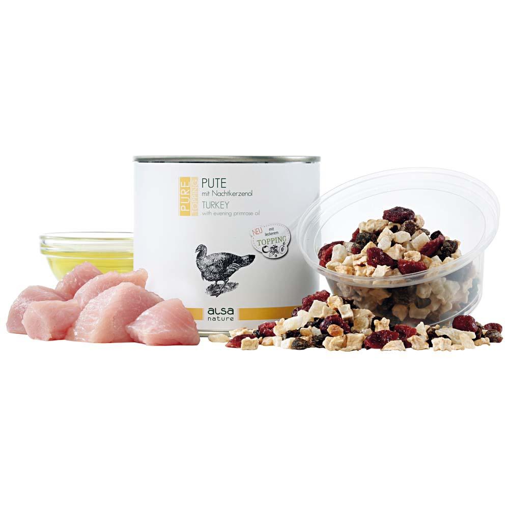 alsa-nature PURE Pute mit Nachtkerzenöl + Topping Früchte-Mix Nassfutter, 600 g