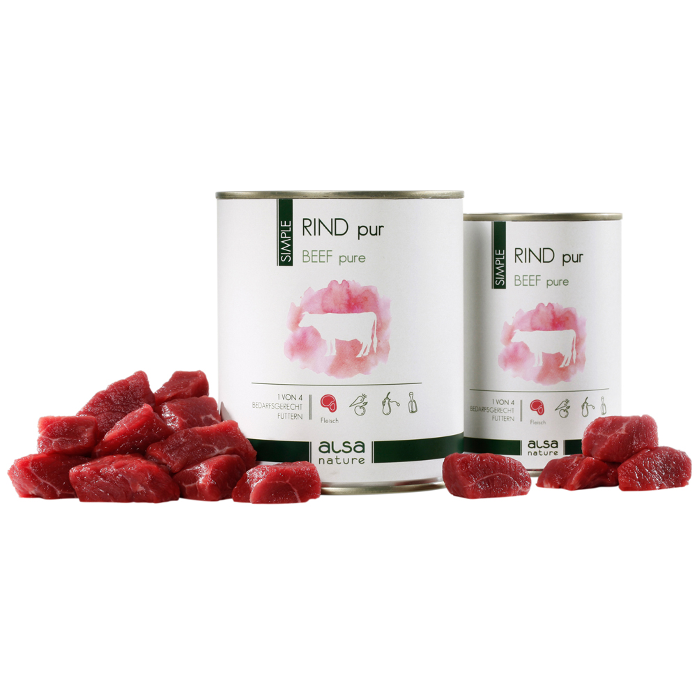 alsa-nature SIMPLE Rind pur Nassfutter, 12 x 400 g - alsa-hundewelt