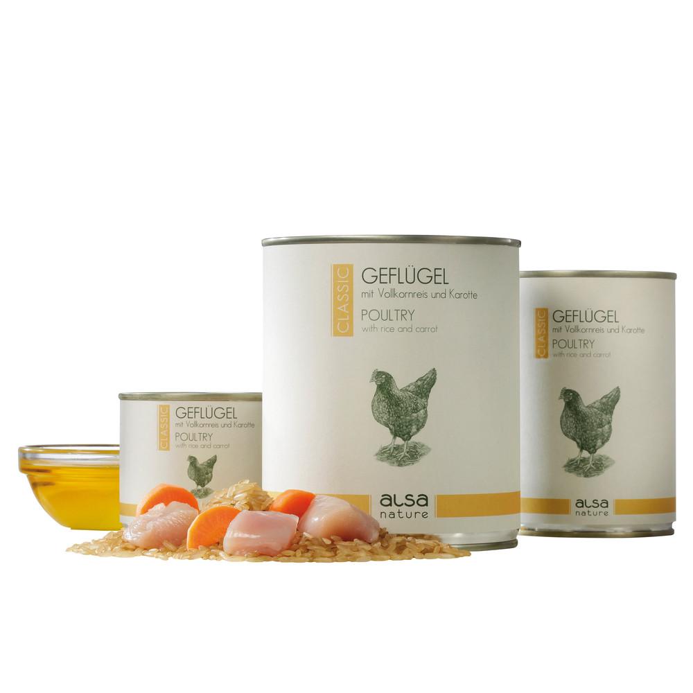 alsa-nature Geflügel mit Vollkornreis und Karotte Nassfutter, 200 g