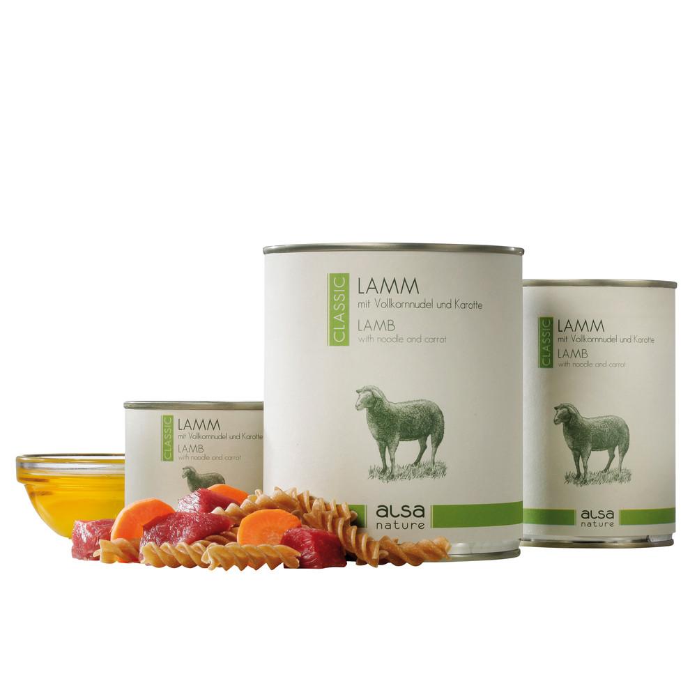 alsa-nature Lamm mit Vollkornnudel und Karotte Nassfutter, 200 g