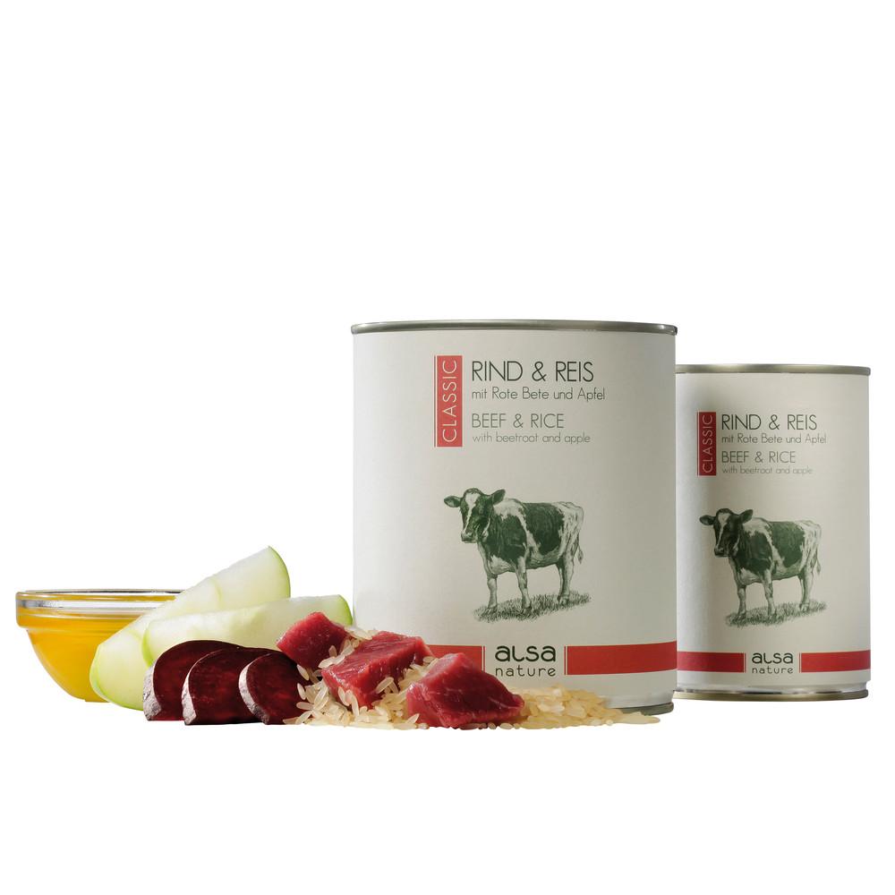 alsa-nature Rind & Reis mit Rote Bete & Apfel Nassfutter, 400 g